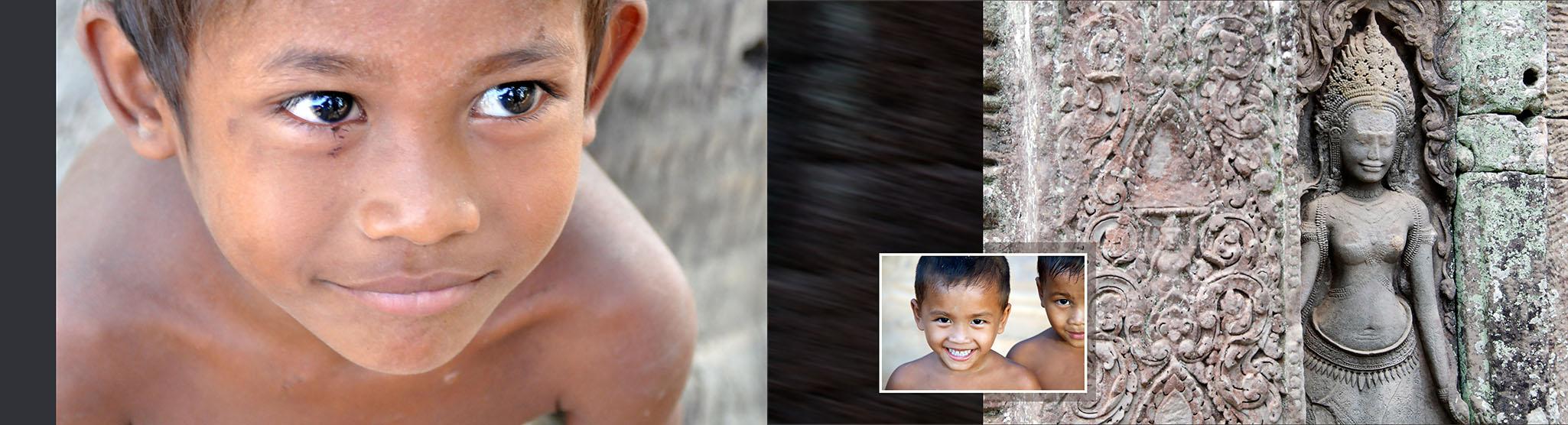 Kinderen en fragment tempel Cambodja 3.10.2