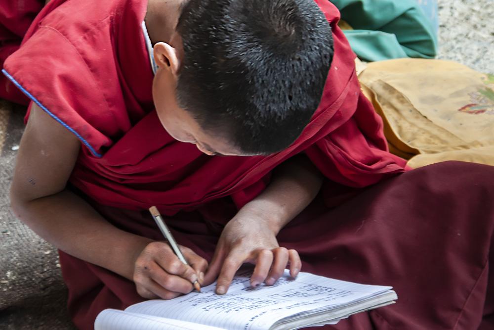 Les op het dak van het Phugtal klooster
