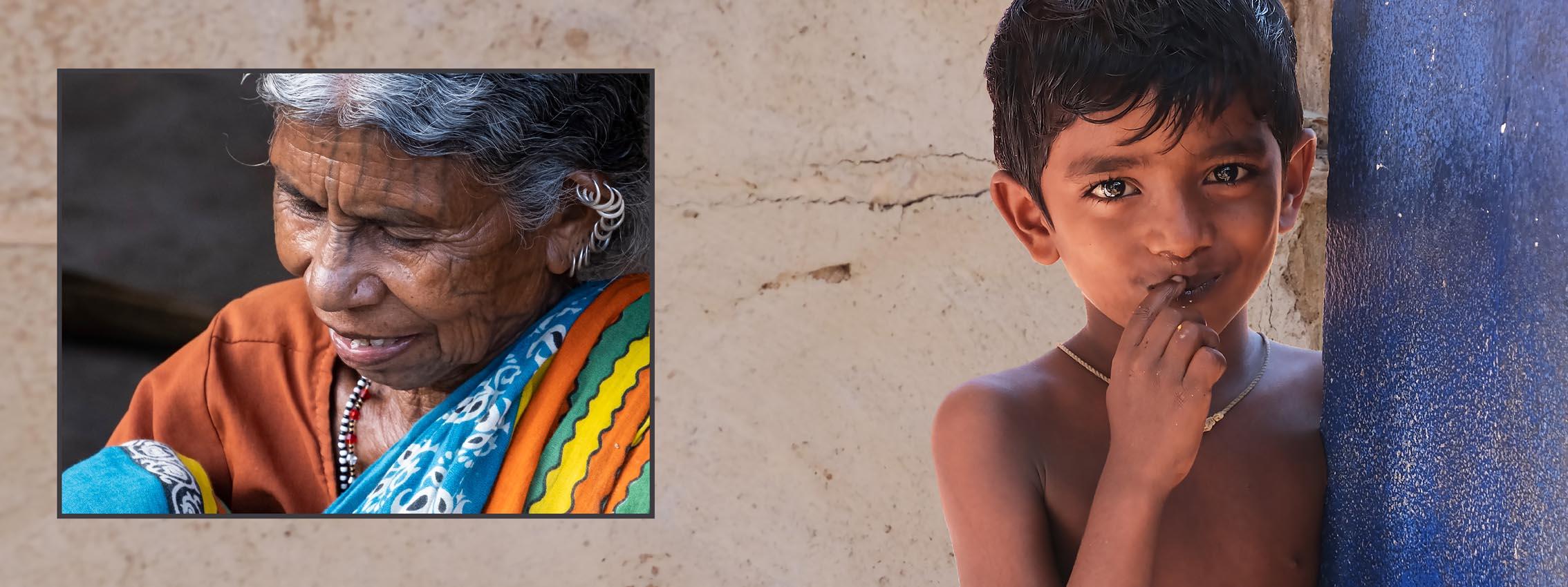 Vrouw en nieuwsgierig kind uit Odisha